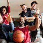 mortgage loan team members celebrate basketball win