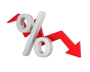 percent sign and red arrow showing downward trend.